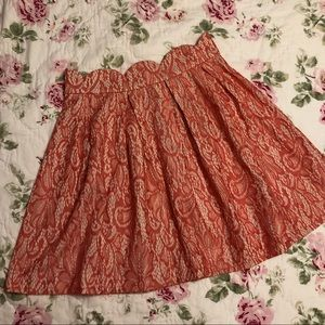 Lace Scalloped Skirt - Coral/Nude